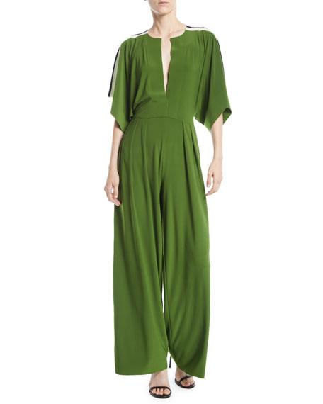Rectangular Jersey Jumpsuit w/ Side Stripes