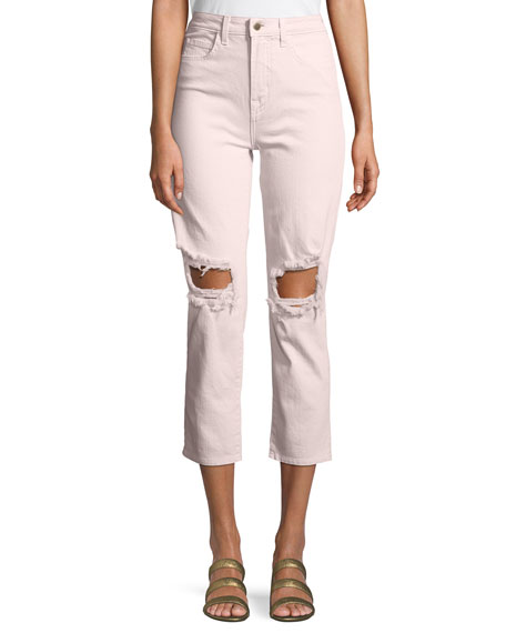 L'Agence Audrina Cropped Distressed Straight-Leg Jeans