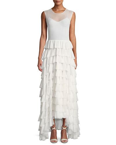 Sleeveless Flared Stretch Ruffle Long Dress