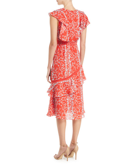 Adelina Floral Vines Printed Ruffle Midi Dress