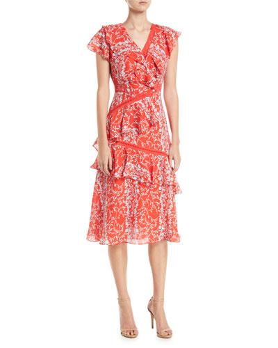Adelina Floral Vines Printed Ruffle Midi Dress