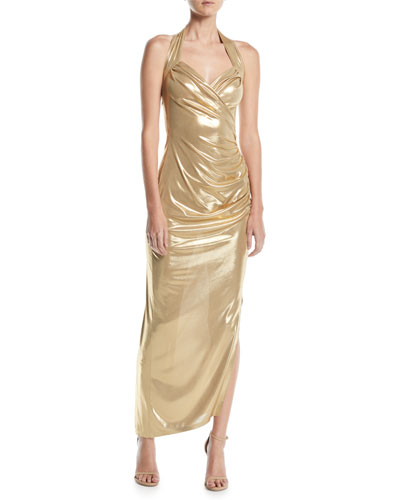 Metallic Sweetheart Halter Gown w/ Draped Side