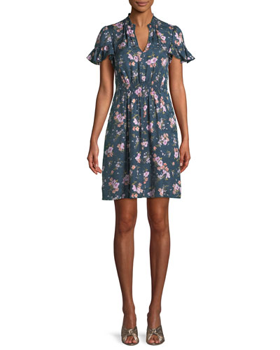 Emilia Floral-Print Silk Mini Dress