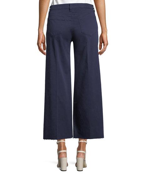 Danica Wide-Leg Cropped Raw-Edge Pants