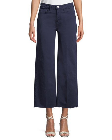 L'Agence Danica Wide-Leg Cropped Raw-Edge Pants
