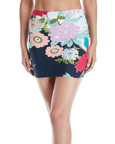 Royal Botanical High-Waist Full-Coverage Skirted Bikini Bottom