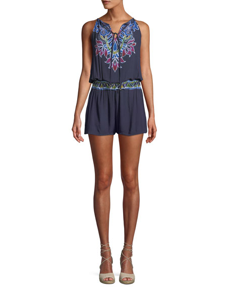 Lotus Batik Printed Sleeveless Romper