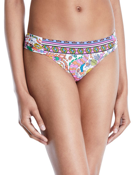 Trina Turk Jungle Shirred Bikini Bottoms