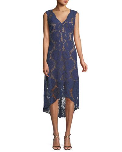 Gaviota High-Low Lace Cocktail Dress
