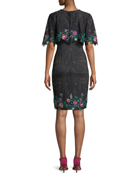 Lace Popover Dress w/ Floral Embroidery