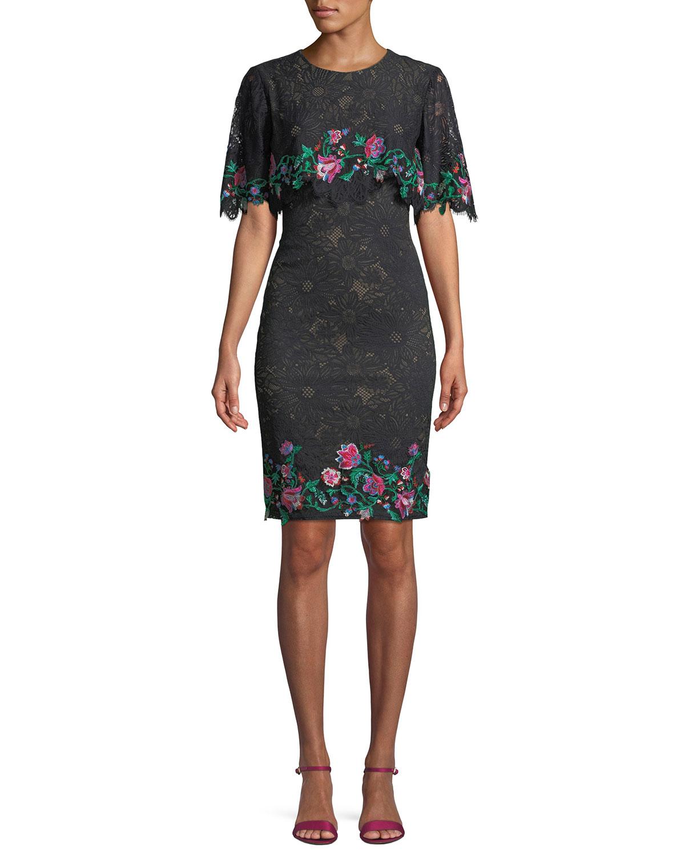 Tadashi Shoji Lace Popover Dress w/ Floral Embroidery | Neiman Marcus