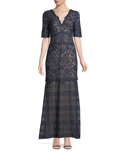 Scalloped Floral Lace V-Neck Dress