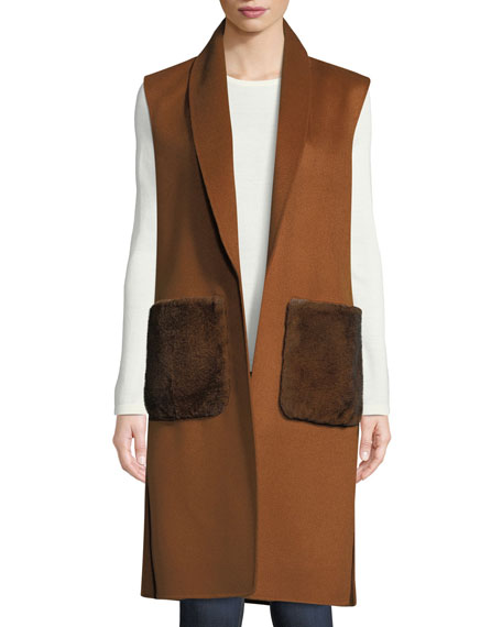 Luxury Fur-Pocket Cashmere Shawl-Collar Vest
