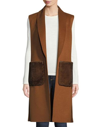 Luxury Fur-Pocket Cashmere Shawl-Collar Vest