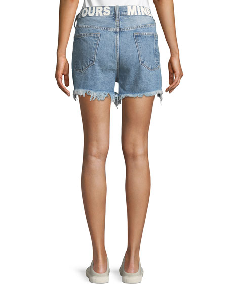 "The His ""Yours/Mine"" Back-Graphic Cutoff Denim Shorts"