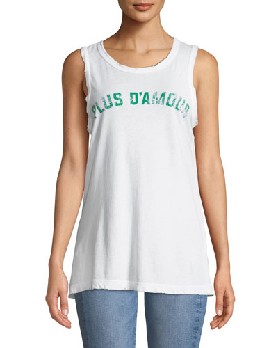 Easy Distressed Graphic Muscle Tank
