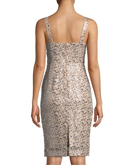 Anuska Sleeveless Sequin Cocktail Dress