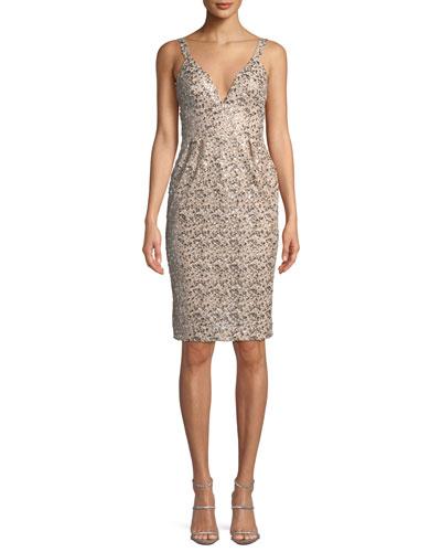 Anuska Sleeveless Sequin Cocktail Dress