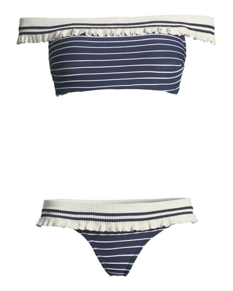 Striped Rib-Knit Hipster Bikini Bottom