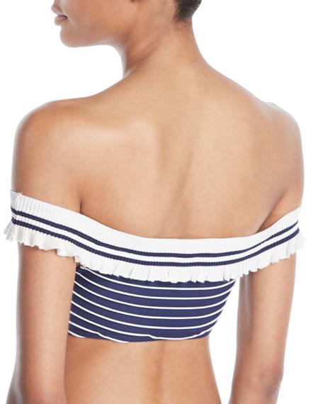 Striped Rib-Knit Off-the-Shoulder Bikini Top