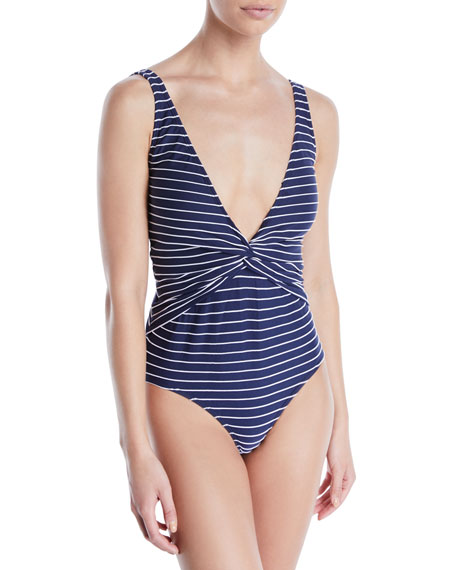 Striped Twist-Front One-Piece Swimsuit