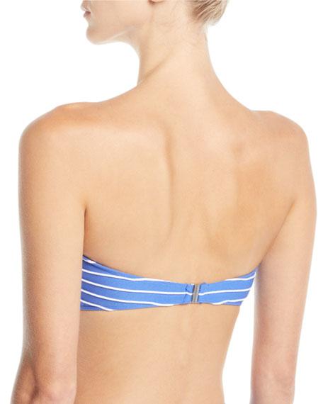 Striped Twist-Front Bandeau Bikini Top