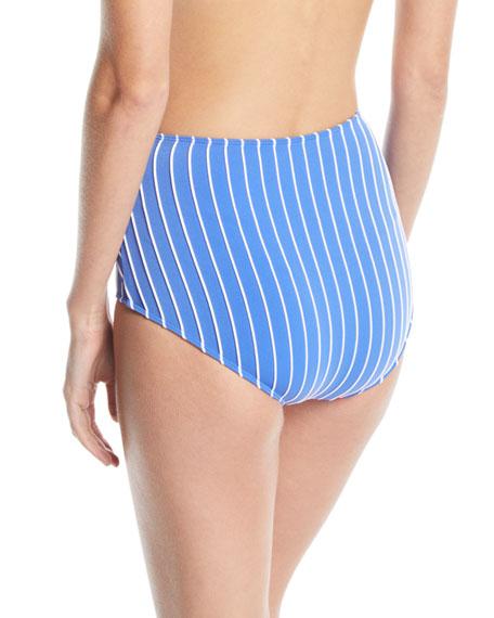 Striped High-Waist Twist-Front Bikini Bottom