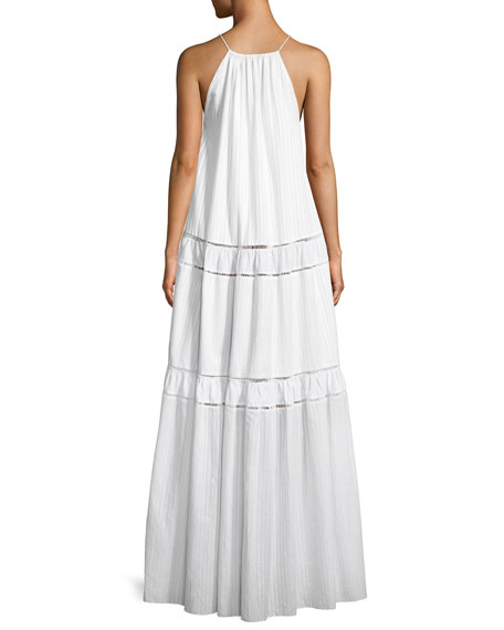 Scoop-Neck Sleeveless Tonal-Striped Maxi Tank Dress
