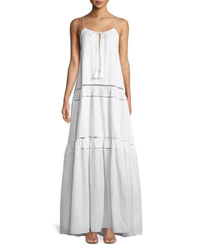 Scoop-Neck Sleeveless Tonal-Striped Maxi Tank Dress