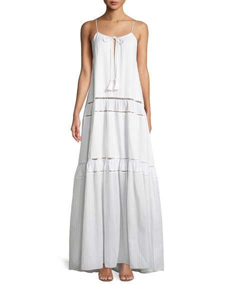 Jonathan Simkhai Scoop-Neck Sleeveless Tonal-Striped Maxi Tank