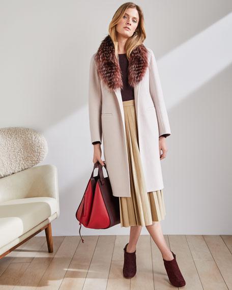 Luxury Open-Front Cashmere Coat w/ Fox Fur Collar