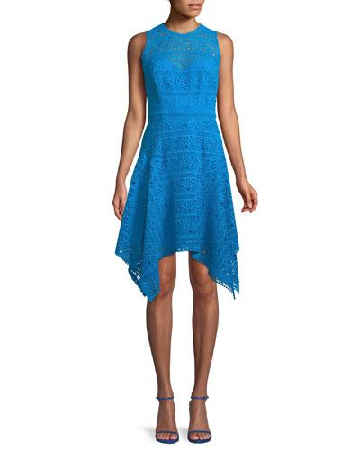 Novelty Guipure Lace Handkerchief-Hem Dress