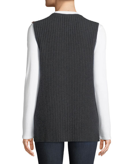 Luxury Cashmere Vest w/ Fox Fur Collar