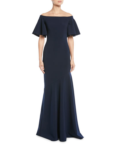 227ba8f14055 Theia Off-the-Shoulder Ruffle-Sleeve Gown