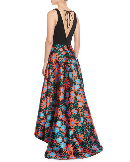 Sleeveless Floral-Dot Ball Gown