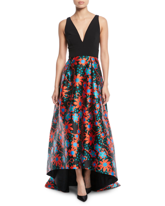 Theia Sleeveless Floral-Dot Ball Gown   Neiman Marcus