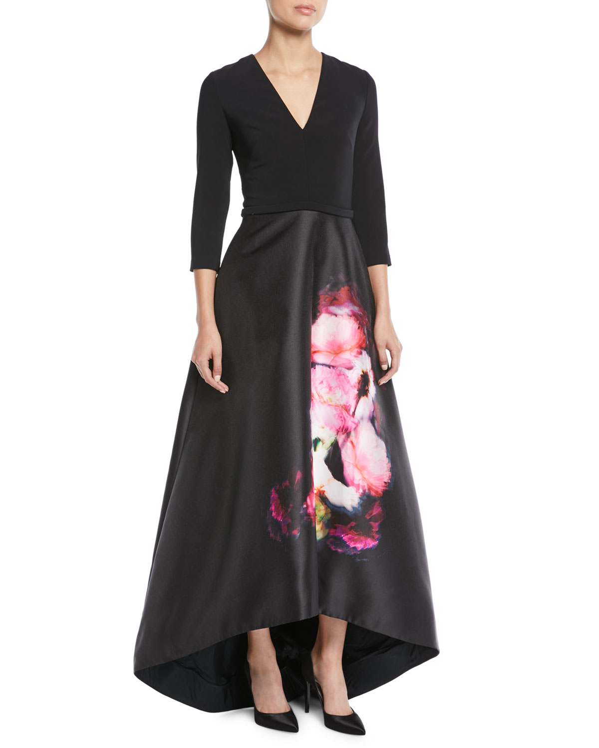 Theia High-Low Ball Gown w/ Flower Skirt | Neiman Marcus