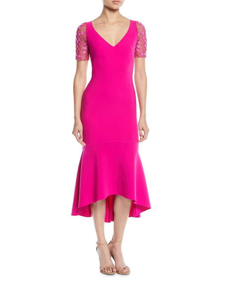 Theia V-Neck Illusion-Sleeve Dress w/ Flounce Hem