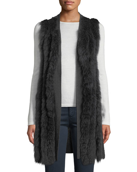 Neiman Marcus Cashmere Collection Luxury Cashmere Fur-Striped