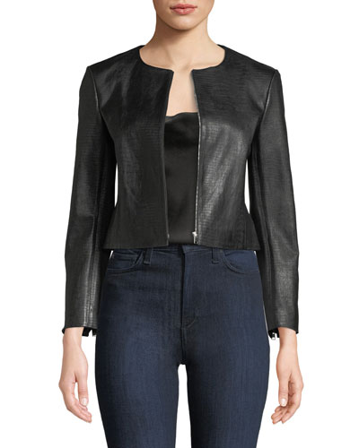 Zip-Front Washed Leather Jacket