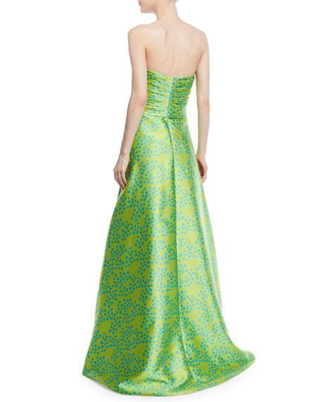 Shisa Strapless Dog Dot Print Ball Gown