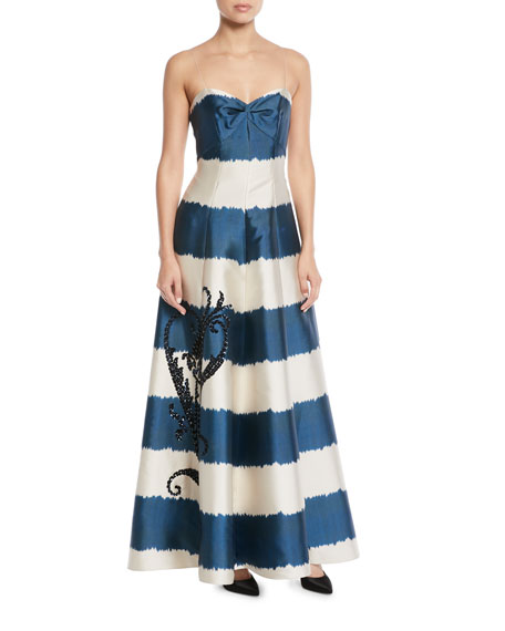 Tophane Striped Sweetheart Gown