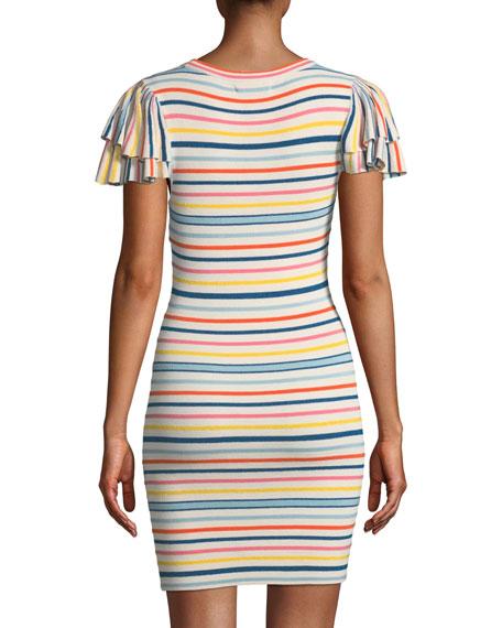 Kellin Striped Ruffle-Sleeve Sweater Dress