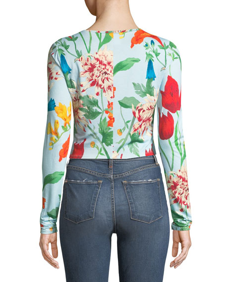 x Donald Robertson Delaina Floral Long-Sleeve Crewneck Top