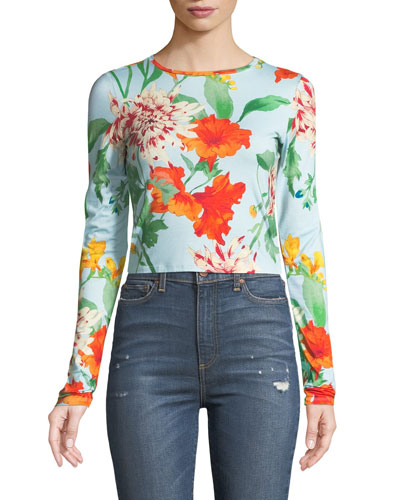 x Donald Robertson Delaina Floral Long-Sleeve Crewneck Top