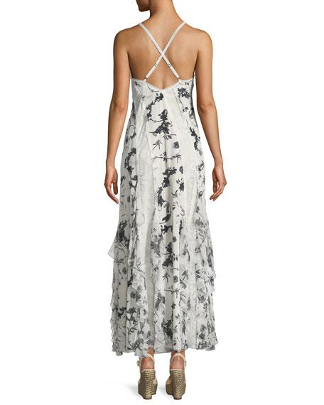 Jayda V-Neck Sleeveless Ruffled Godet Floral-Print Maxi Dress