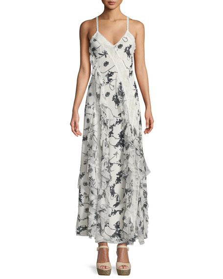 Alice + Olivia Jayda V-Neck Sleeveless Ruffled Godet