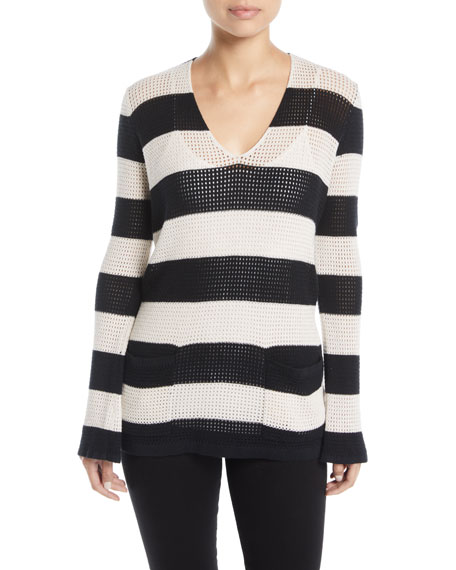Striped Mesh Cotton/Linen Sweater