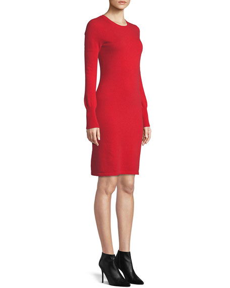 Cashmere Long-Sleeve Sweater Dress, Plus Size