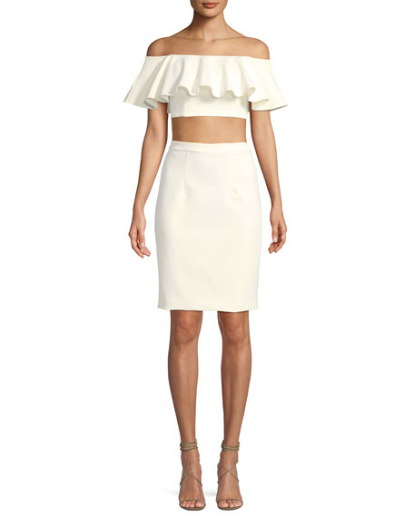 Jovani Two-Piece Crop Top & Straight Skirt